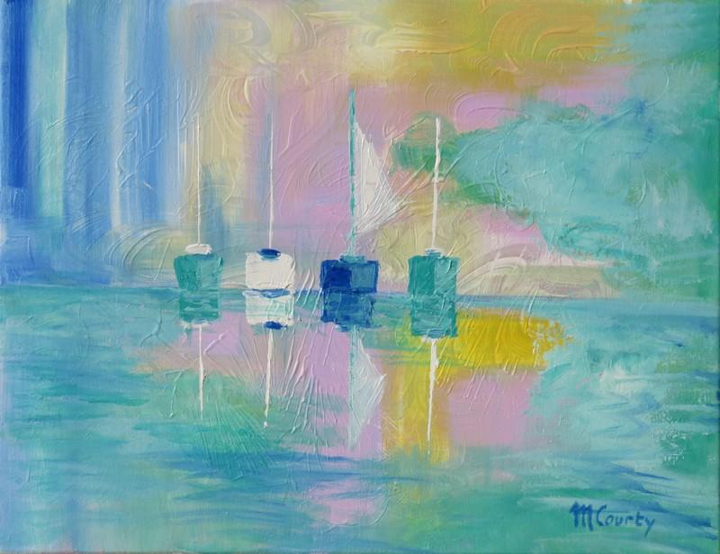 4 voiliers : peinture acrylique sur toile 65 x 50 cm