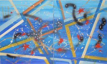 Abstraction bleue: Dyptique peinture acrylique 2 fois 46 cm x 55 cm