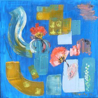 Abstraction fleurie : peinture acrylique sur toile 50 x 50 cm
