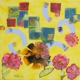 Abstraction jaune : peinture acrylique sur toile 50 x 50 cm