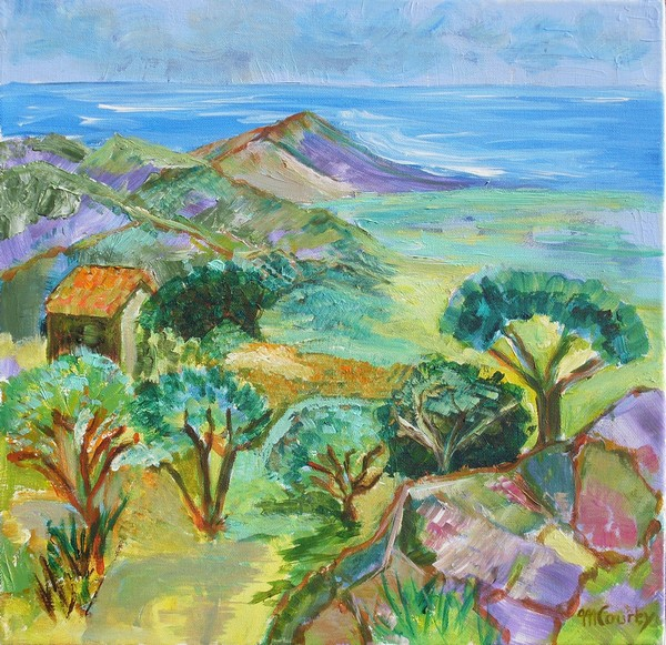 Baie d`Ajaccio : peinture acrylique sur toile 50 cm x 50 cm
