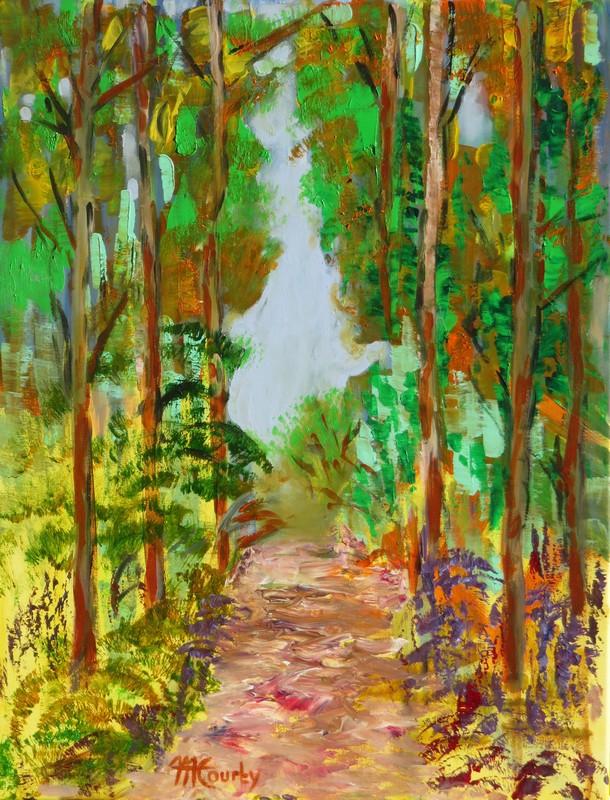 Allée forestière : peinture acrylique sur toile 50 x 65 cm