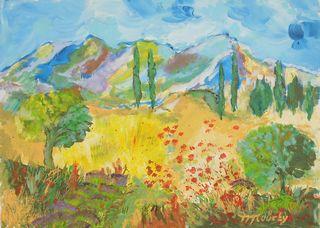 Alpilles : peinture acrylique sur toile 50 cm x 70 cm