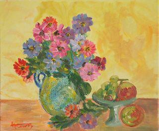 Anémones : peinture acrylique sur toile 38 cm x 46 cm