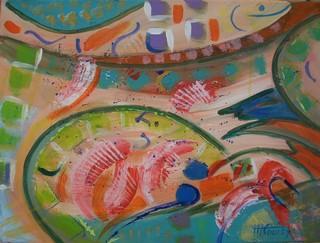 Assiette : peinture acrylique sur toile 61 cm x 46 cm