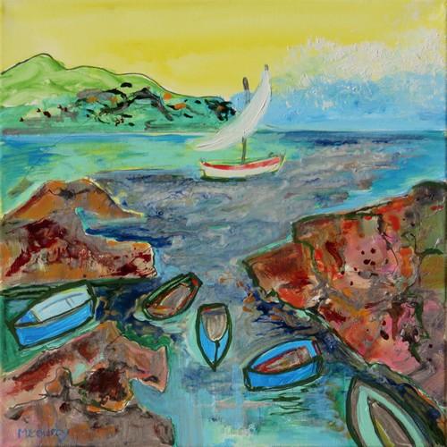 Aube marine : peinture acrylique et vitrail sur toile 40 x 40 cm