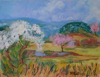Au printemps : peinture acrylique sur toile 50 cm x 65 cm X 5 cm
