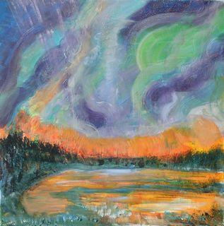 Aurore boréale : peinture acrylique sur toile 60 cm x 60 cm