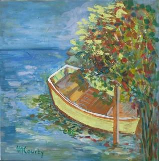 Barque abandonnée : peinture acrylique sur toile 50 cm x 50 cm