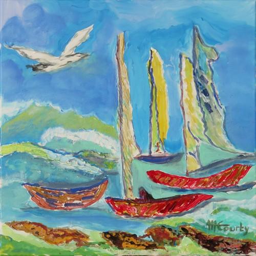 Barques dans le vent : peinture acrylique et céramique sur toile 50 x 50 cm