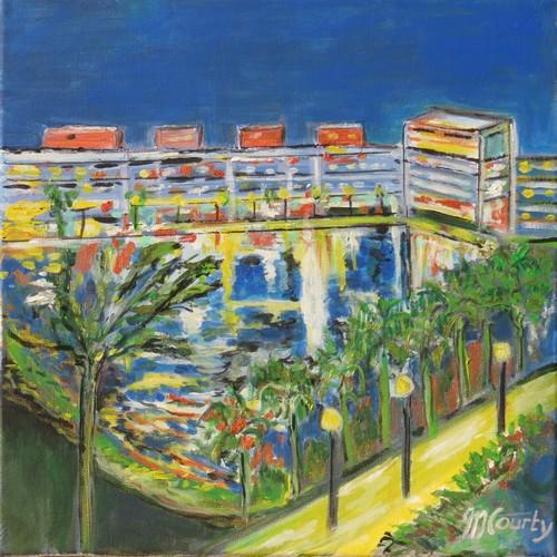 Bassin Jacques Cur Montpellier: peinture acrylique sur toile 40 x 40 cm