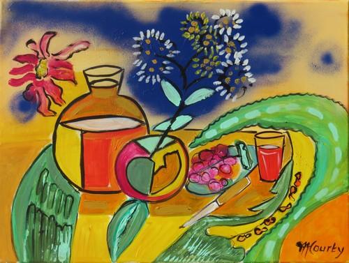 Le bouquet et la cruche : peinture acrylique sur toile 61 c 46 cm
