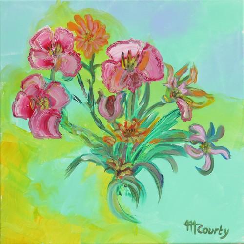 Bouquet fraicheur : peinture acrylique sur toile 50 x 50 cm