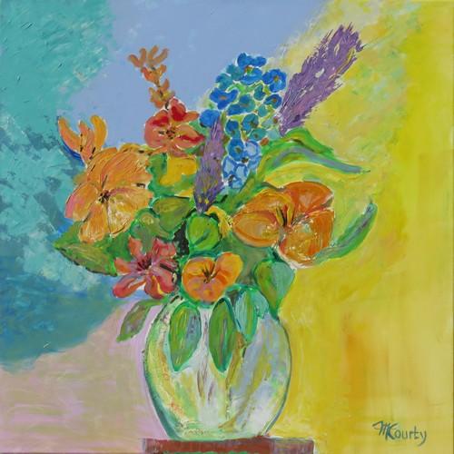 Bouquet orange et bleu : peinture acrylique sur toile 80 cm x 80 cm