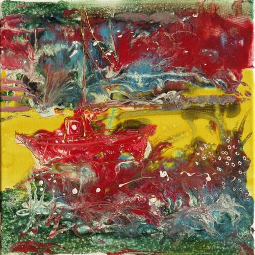 Bourrasque marine : peinture acrylique et vitrail sur toile 30 x 30 cm