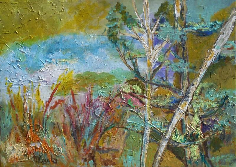Broussailles: peinture acrylique sur toile 70 cm x 50 cm