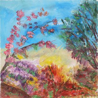 Buisson printanier : peinture à l`huile sur toile 60 cm x 60 cm