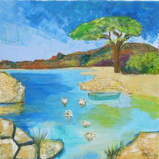 Calanque : peinture acrylique sur toile 50 x 50 cm