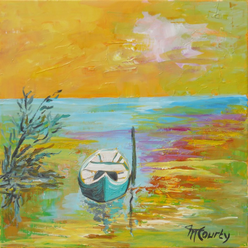 Camargue au soleil couchant : peinture acrylique sur toile 50 x 50 cm