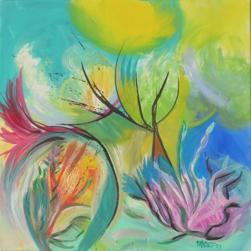 Chaleur d`été : peinture acrylique sur toile 80 x 80 cm