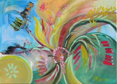 Chardon rose : peinture acrylique sur toile 70 x 50 cm