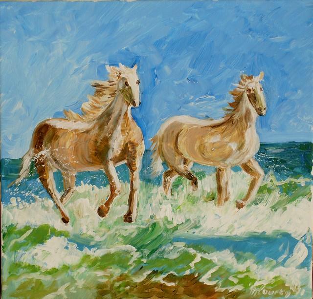 Chevaux de Camargue : peinture acrylique sur toile 50 cm x 50 cm