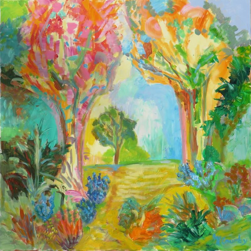 Clairière printanière : peinture acrylique sur toile 80 x 80 cm