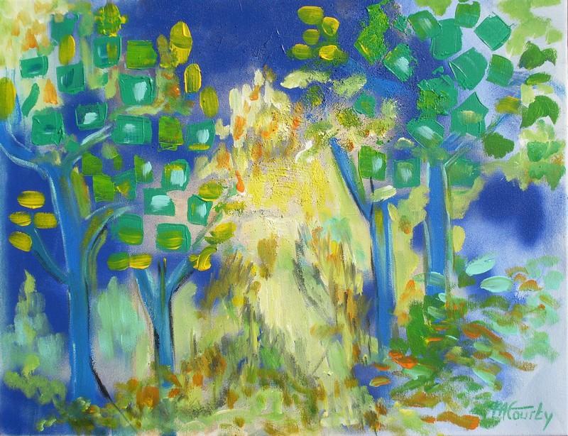Clairière : Peinture acrylique sur toile 65 cm x 50 cm