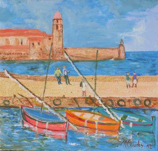 Collioure : peinture acrylique sur toile avec relief 50 cm x 50 cm