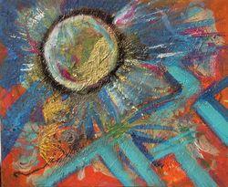 Comète: peinture abstraite sur toile 46 cm x 38 cm