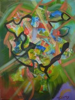 Composition abstraite : peinture acrylique sur toile 61 cm x 46 cm avril 2013