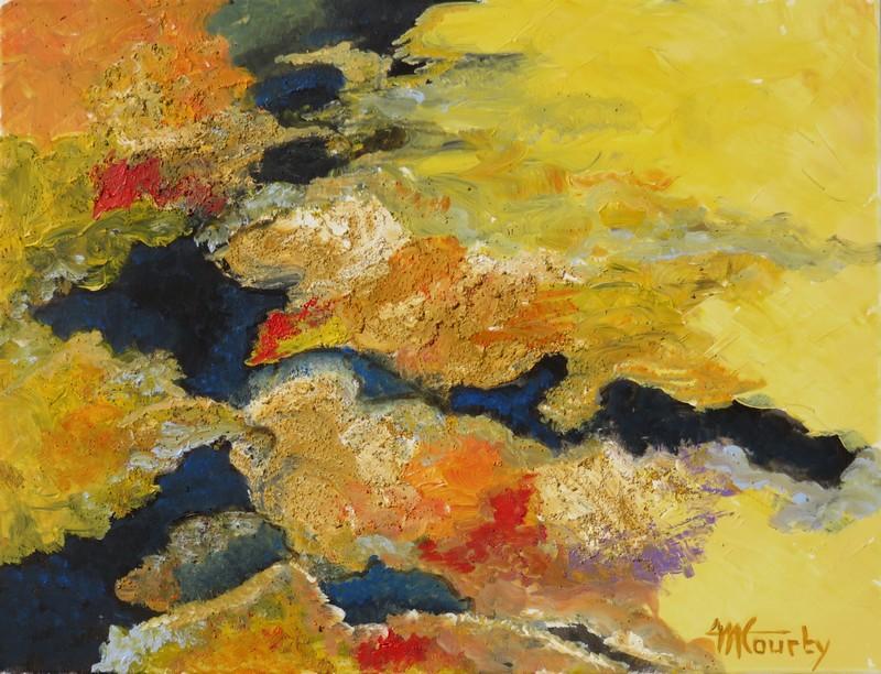 Continents : Peinture acrylique sur toile avec pâte de structure 50 x 65 cm