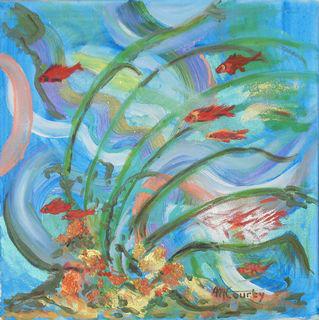Coraux et poissons : peinture acrylique sur toile