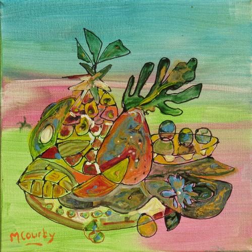 Corbeille de fruits : peinture acrylique sur toile 30 x 30 cm