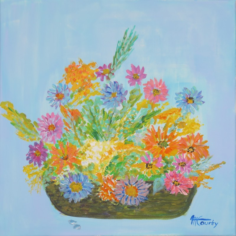 Corbeiile de paquerettes : peinture acrylique sur toile 50 cm x 50 cm