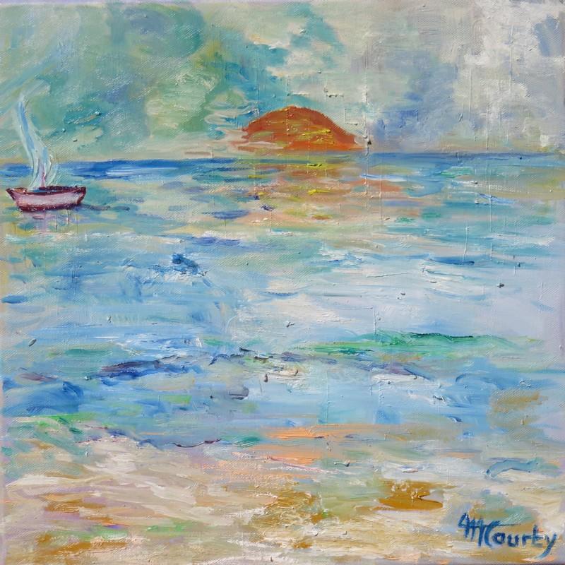 Coucher de soleil sur la mer ; peinture à l`huile sur toile 40 x 40 cm