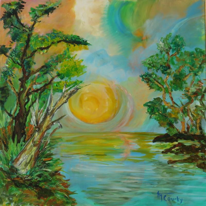 Coucher de soleil : peinture acrylique sur toile 80 cm x 80 cm