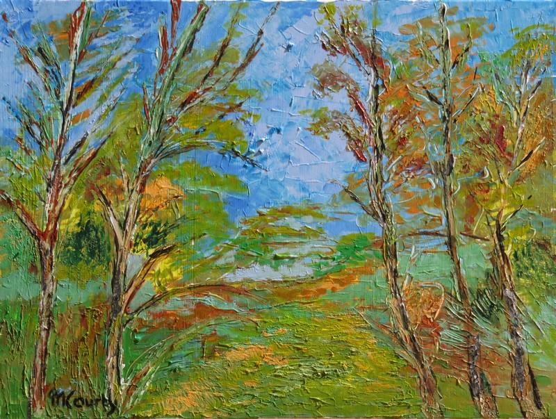 Couleurs d`automne : peinture acrylique sur toile 61 x 46 cm