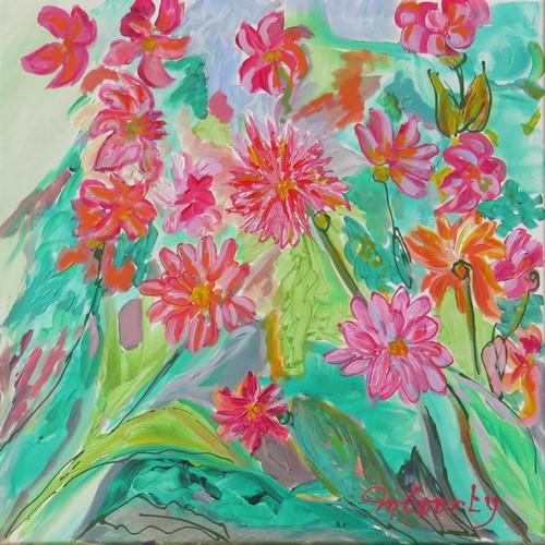 Dahlias : peinture acrylique sur toile 50 x 50 cm