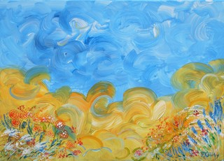 la dande des blès : peinture acrylique sur toile 50 x 70cm
