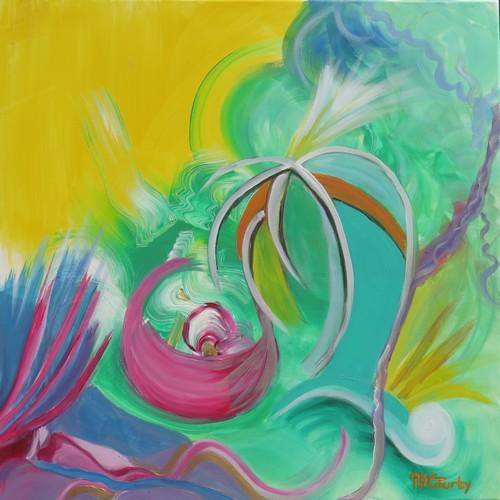 Eclats peinture acrylique sur toile 80 x 80 cm