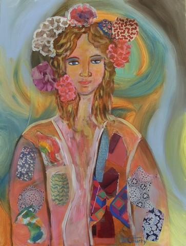 Elégante : peinture acrylique avec collages sur toile 61 x 46 cm - Mai 2013