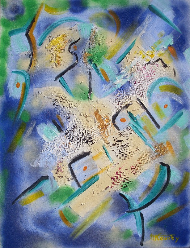 Empreintes : peinture acrylique sur toile avec relief 50 cm x 65 cm