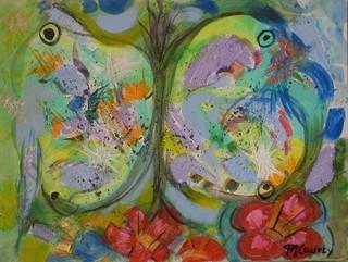Envol papillon : peinture acrylique sur toile 61 x 46 cm .Avril 2013