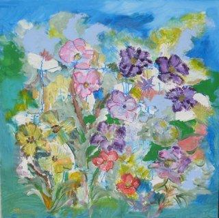Espace floral : peinture acrylique sur toile 80 cm x 80 cm