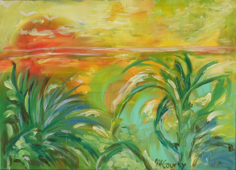 Etang : peinture acrylique sur toile 70 cm x 50 cm