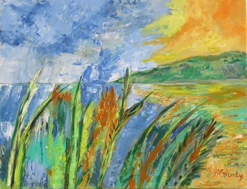 Etang2 : peinture acrylique sur toile 65 cm x 50 cm
