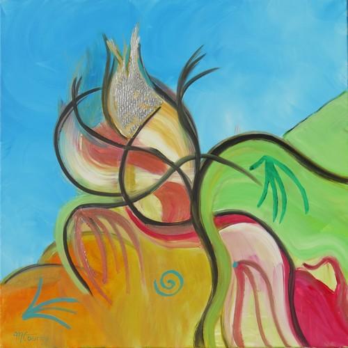 Etrange : peinture acrylique sur toile 80 cm x 80 cm