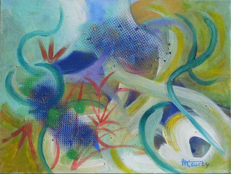 Festivités : peinture acrylique sur toile 61 cm x 46 cm