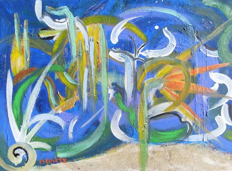Feu d`artifice : peinture acrylique sur toile 55 cm x 38 cm
